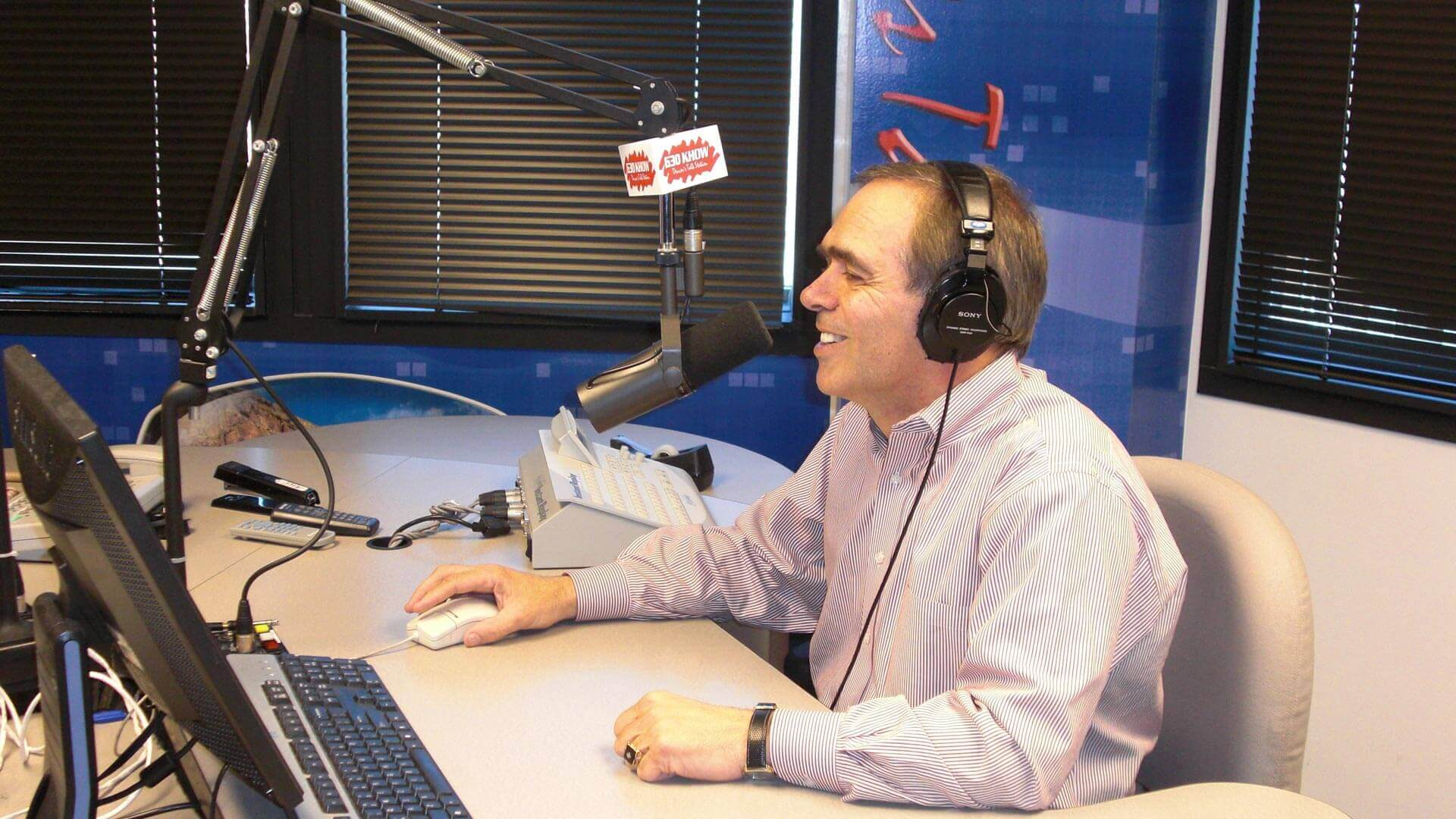 Brad Pollock in the radio studio
